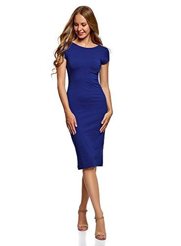 oodji Collection Damen Midi-Kleid mit Ausschnitt am Rücken Blau (7500N)