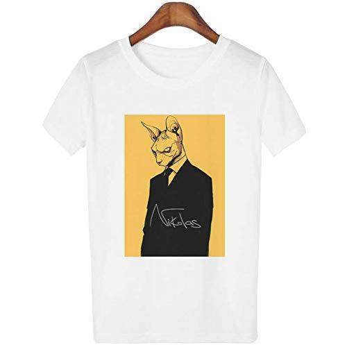 ZCYTIM Tumblr Graphic Tees Frauen Koreanische Kleidung Vintage Streetwear Schwarz Katzen Weibliche T-Shirt Gangland Mörder Katzen Gedruckt T-Shirt Damen -