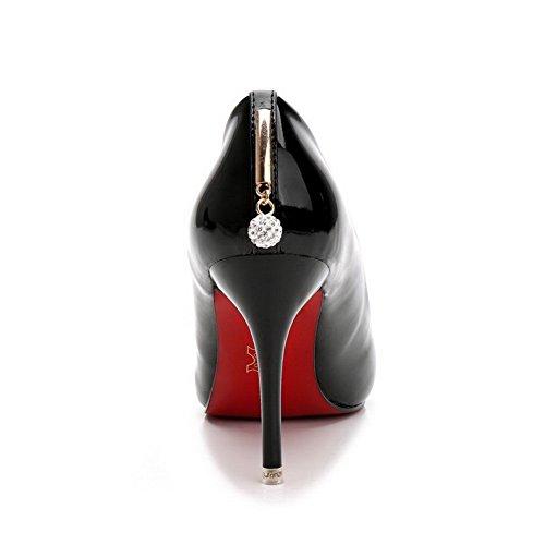 Stiletto anhänger Schließen Schuhe Zehe Rein Spitz Aalardom Pumps Material Weiches Schwarz Damen ZY6TTqU
