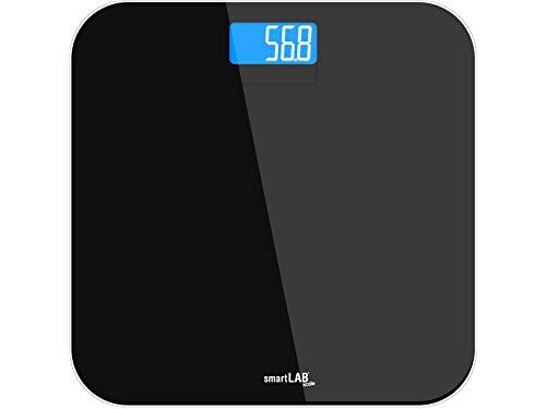smartLAB scale báscula de baño de vidrio templado negro | báscula con la medición exacta de peso | balanzas digitales para el control de peso con pantalla LED