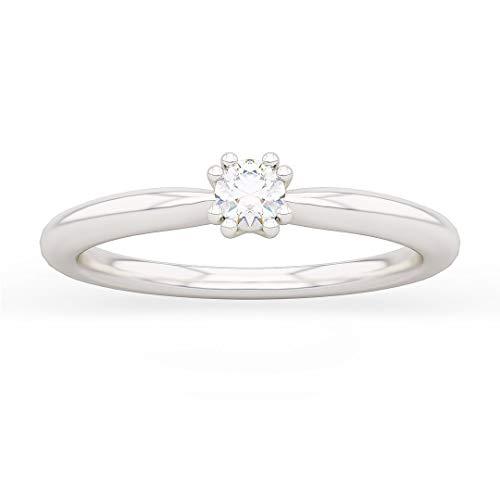 Anello solitario donna petit fleur in oro bianco 18kt e palladio con diamanti