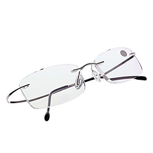 Kalttoy Ultraleichtes Titan randlose rechteckige Brille Brille Brillengestell Brillen (Schwarz, 2.0)