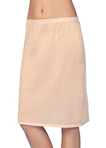 VEDATS Damen Unterrock Halbrock Unterkleid Jupon Knielang Schwarz Weiß Hautfarben S M L XL (S, Hautfarben)