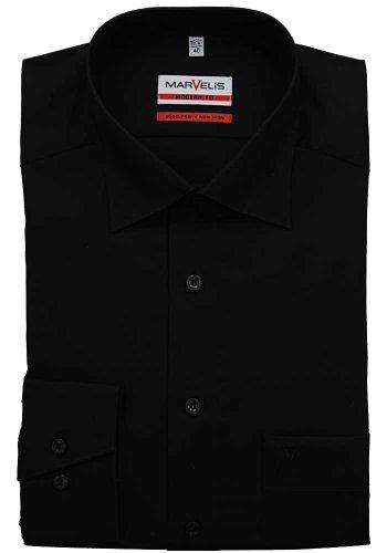 MARVELiS-Hemd MODERN-FIT (schmaler Schnitt) 4700 uni Extra langer Arm 68-schwarz