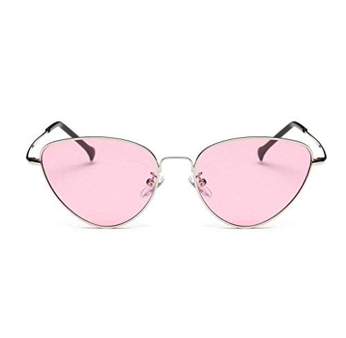 Amcool Unisex Sommer Retro Katze Augen Brille Aviator Spiegel Objektiv Sonnenbrille (Rosa)