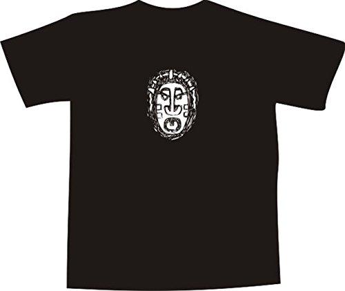 T-Shirt E541 Schönes T-Shirt mit farbigem Brustaufdruck - Logo / Grafik - abstraktes Design - Maske des Kriegers / afrikanische Stämme Mehrfarbig
