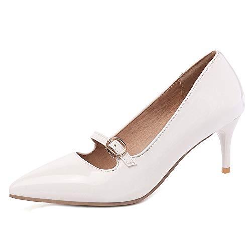 Lydee Damen Klassisch Mary Janes Schuhe Kitten Fersen Pumps Slip On Hochzeit Party Schuhe Pointed White Größe 34 -