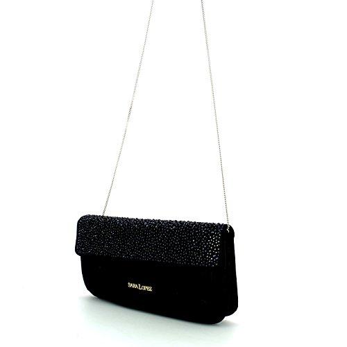 Pochette borsa donna / woman SARA LOPEZ con decorazioni a rilievo bo16313 Nero