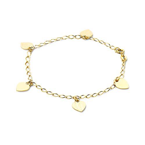 Orovi Armband - Armreif Damen Gelbgold 14 Karat / 585 Gold Kette mit Herz 19 cm - Ring Wedding Diamond Frau