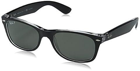 Ray Ban RB2132 New Wayfarer Sonnenbrille 52 mm, Black and Transparent, Large (Herstellergröße: 58)
