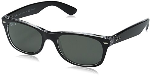 Ray-Ban RB2132 New Wayfarer Sonnenbrille 52 mm, Black and Transparent, Large (Herstellergröße: 58)