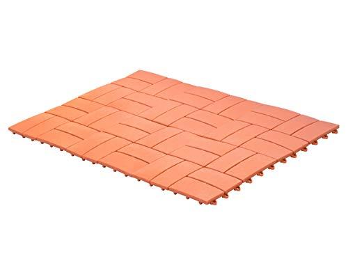 UPP Outdoor Gartenplatten Klickfliesen 30 x 30 cm | Wetterfester Bodenbelag für Balkon, Garten & Terrasse | Einfach & Schnell verlegt [6 Teile, Terracotta]