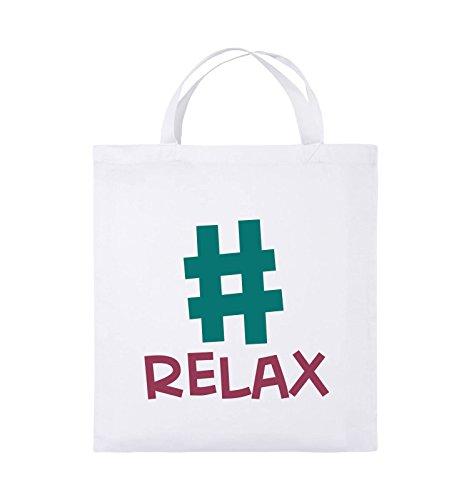 Comedy Bags - #RELAX - Jutebeutel - kurze Henkel - 38x42cm - Farbe: Schwarz / Weiss-Neongrün Weiss / Fuchsia-Türkis
