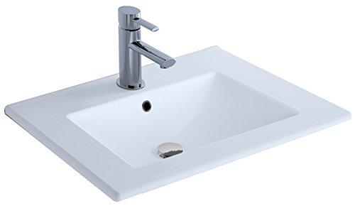 Cygnus Bath Lavabo 600 - Lavabo de porcelana, 61 x 46 x 1,5 cm