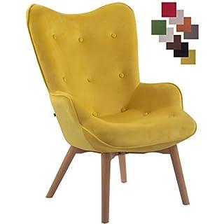 CLP Lounger Duke mit geknöpfter Polsterung und Stoffbezug I Loungesessel mit Armlehnen und Gestell aus Buchenholz Gelb