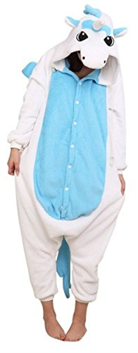 Tier Cartoon Fasching Halloween Kost¨¹m Sleepsuit Cosplay Fleece-Overall Pyjama Schlafanzug Erwachsene Unisex Kigurumi Tier Onesize,Blaue Einhorn M ()