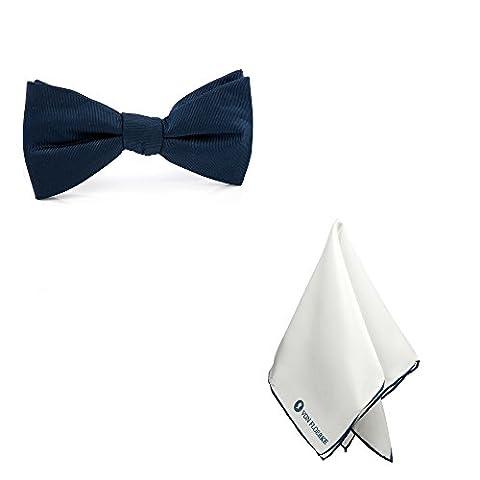 Vorgebundene Fliege mit Einstecktuch 100% Seide im Set – blau, dunkelblau weiß – Für Hochzeit & Freizeit – Kragenweite: 37-52cm – Schleifen und Einstecktuch für Herren by VON FLOERKE