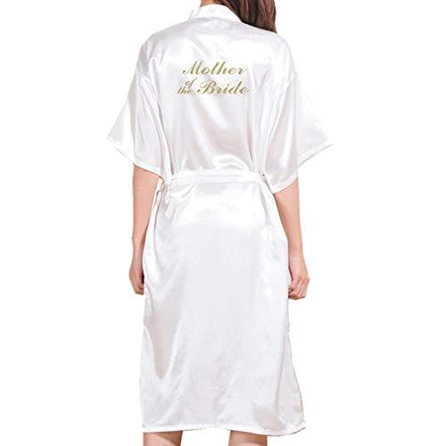 Yying Boda Madre Novia Bata Albornoz Kimono Bata Bata Nocturna Bata de Baño Bata de Moda para Mujer