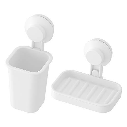 Ikea TISKEN Seifenschale und Zahnbürstenhalter mit Saugnäpfen, Weiß