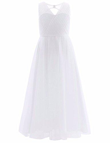 YiZYiF Festliches Mädchen Kleider Lange Brautjungfern Kleider Hochzeit Party Prinzessin Kleid Festzug Gr. 104 116 128 134 140 146 152 164 ,  ( Weiß , 10 years )