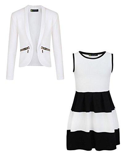 LotMart Girls Sleeveless Skater Dress Bundle with Girls Zip Pockets Jacket