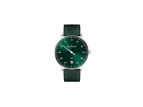 Meistersinger Unisex Neo 36mm Green Leather Band Steel Case Acrylic Crystal Automatic Analog Watch NE909N