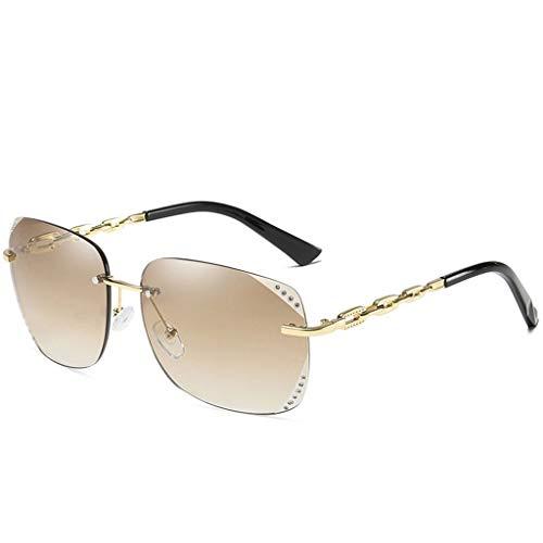 DFZJJ Sonnenbrillen- Neue Persönlichkeit Sonnenbrille Weibliche UV Schutz Mode Sonnenbrille Größe Lange Runde Gesicht Sonnenbrille (Color : Brown, Size : 14.6cm)