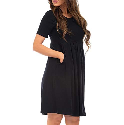 Solide Geraffte Kleid (Freizeitkleider Für Damen,Dragon868 Mode Frauen Solide Oansatz Kurzarm Taschen Geraffte Lose Kleid)