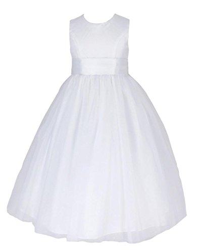 go2victoria raso & seta estito formale da ragazza vestito per matrimonio vestito da comunione vestito da damigellina 9-10 anni, bianco (W6078-10#)