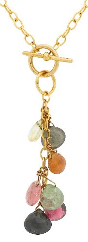 """Carissima Gold 9ct Yellow Gold Multicolour Gemstone Drop T-Bar Chain Necklace of 41cm/16"""""""