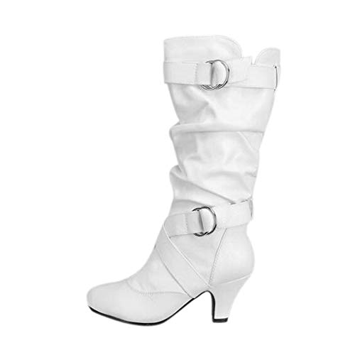 6d1e641a Botas Altas Mujer JiaMeng Invierno Muslo Alto Botines La Rodilla Boots  Después de lijar con borlas