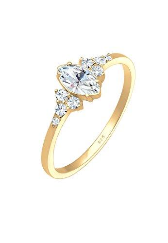 Elli Damen Echtschmuck Ring Valentin Marquise mit Swarovski Kristalle in 925 Sterling Silber