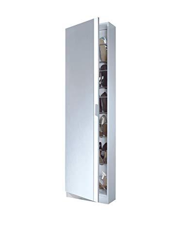 Habitdesign 007866BO Zapatero con Espejo, color Blanco Brillo, 180x50x20 cm de Fondo, madera