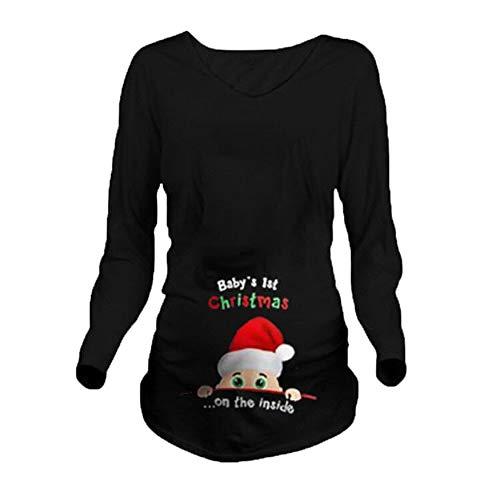 worclub Camisa de la Navidad de Las Mujeres Embarazadas, Camiseta Divertida Linda de Maternidad del Aviso del Embarazo de la Navidad