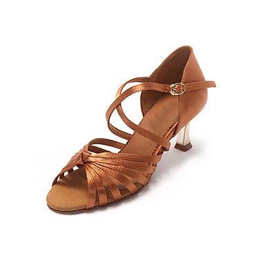 Silence @ Chaussures de danse pour femme en cuir Cuir Latin talons Stiletto Talon débutants/Professional Noir/doré noir