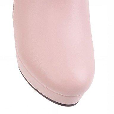 Coeur & M Femmes Faux Cuir Chaussures Automne Hiver Bottes Bottines Carré Bout Rond Mi Mollet Bottes Pour Casual Blanc Noir Blanc