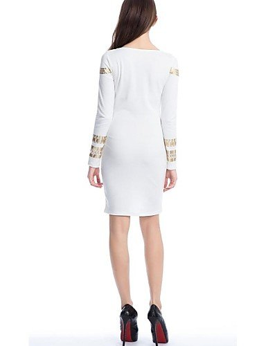 PU&PU Robe Aux femmes Gaine Vintage / Soirée , Imprimé Col Arrondi Midi Mélanges de Coton white-l