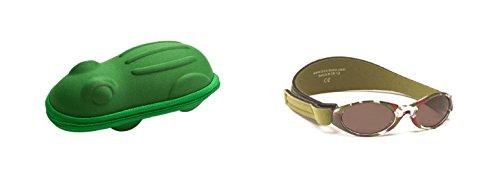 Lunettes de soleil BabyBanz- Bébé 0 à 24 mois , Vert Camo, et un étui lunettes de soleil Yoccoes - en forme de Grenouille Vert