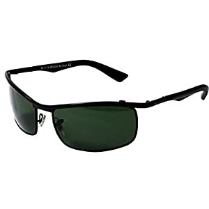 AISLIN® Non-Breakable Rectangular Sunglasses For Men (G-15 Green Lens)(AS-3459DH-2-BLK)