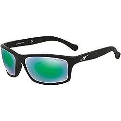 Arnette Sonnenbrillen Für Mann 4207 447/3R, Fuzzy Black / Light Green, Green Mirror Kunststoffgestell