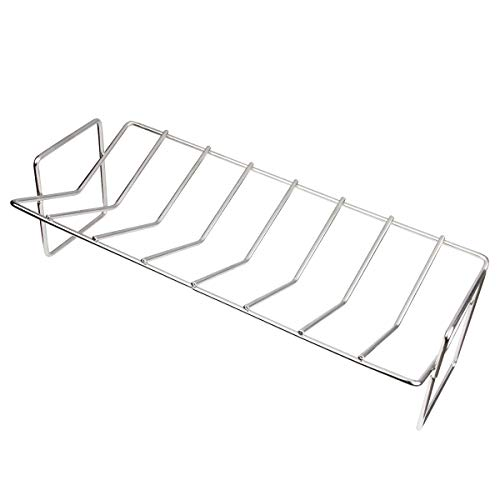 Dracarys BBQ Rib Rack Roast Rack V-Rack Grills, Stainless Steel Roast Rack Dual Purpose Fit for Gas BBQ Grills or Charcoal BBQ Grills as Big Green Egg or Kamado Joe or Weber or Fireplus or CosmoGrill
