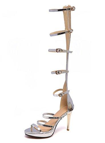 HN Shoes Damen Gladiator Sandalen Reißverschluss Ausgeschnitten Römersandalen Spitze Knie High Heel-Stiefel Gladiator Sandalen Riemchen GrößE, Silber, 38 (Stiefel Plattform Knie Spitze)