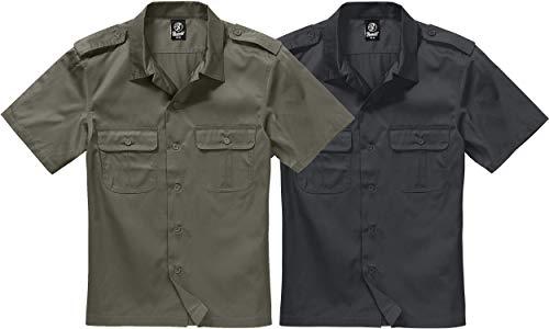 Army Kostüm Shorts - Brandit US Hemd Kurzarm Oliv - M
