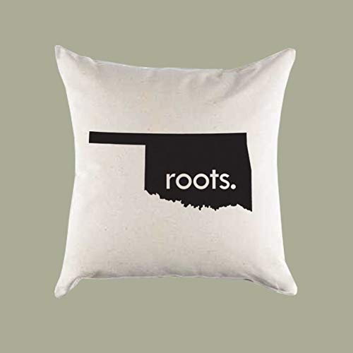 Prz0vprz0v Oklahoma OK 'Roots' Or 'Made' Home State Canvas Pillow Cover Or Pillow Case Square Cushion Case for Sofa Bedroom 18 x 18 Inch Throw Pillow Cover -