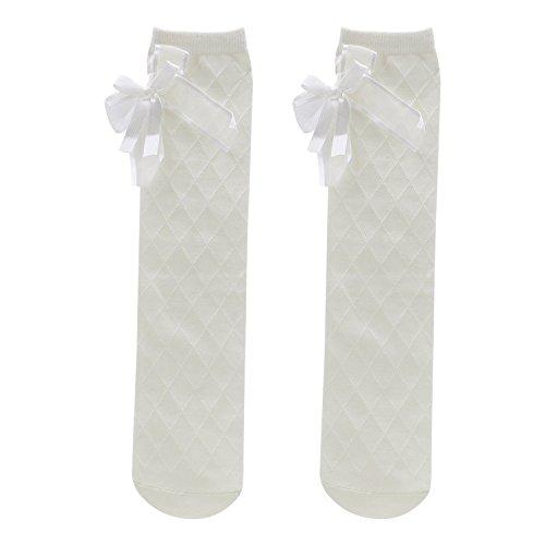 swiduuk Mädchen Kinder Baumwolle Socken Strumpfhosen Schule Hohe Knie Rasterband Schleife Dance Strümpfe weiß weiß 35cm/13.78