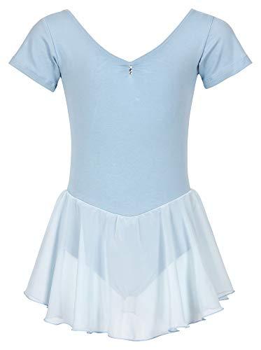 tanzmuster Kinder Kurzarm Ballettanzug Betty aus Baumwolle mit Glitzersteinen und Chiffon Röckchen in hellblau, ()