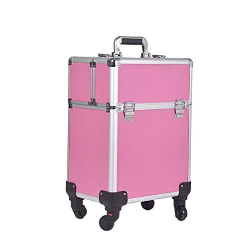 Trolley en Malette maquillage Beauty case de grande capacité professionnelle multicouche de cas de vanité de caisse de clou de boîte de stockage de tatouage de salon de beauté,pink