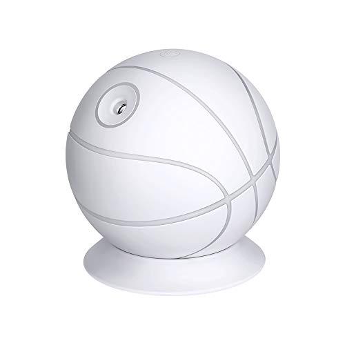 USB-Basketball-Luftbefeuchter 240ml,Mini tragbarer kalter Nebelluftbefeuchter Mit farbigen LED-Leuchten Geeignet für Yoga, Büro, Schlafzimmer, Babyzimmer, Gesundheit, Haut,Schlaf verbessern,White 240 Usb