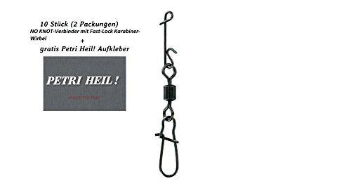 SET: 2 Packungen (insgesamt 10 Wirbelkarabiner) Jenzi Knotenlosverbinder mit Wirbel brüniert Gr.10 14kg + gratis Petri Heil! Aufkleber