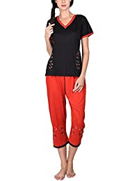 Go Glam Women's Nightsuit Set (Black and Red)